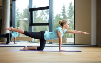 fitness sport training yoga and people concept  smiling woman doing exercise in gym