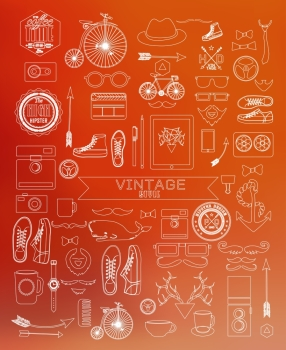 Modern thin line Hipster style elements icon and object can be used for retro vintage website info graphics banner
