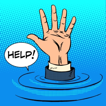 Hand sinking asks for help Business concept