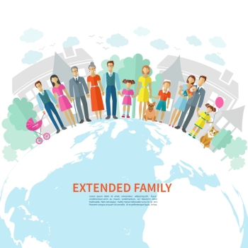 Extended family poster with flat men women children and pets on globe vector illustration