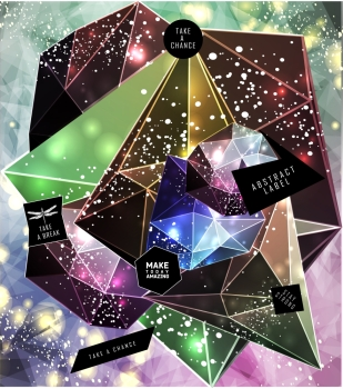 Polygonal cosmic background with quote and labels Crystal and triangles low poly illustration