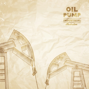 Oil pump engraving over old paper texture Vector illustration