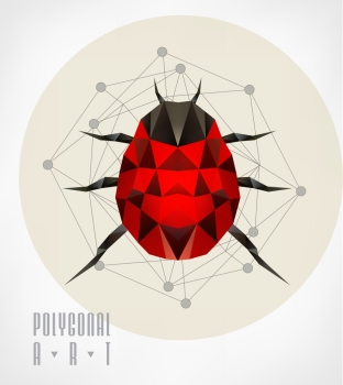 Abstract polygonal beetle Geometric hipster illustration Polygonal poster low poly illustration Ladybird polygonal