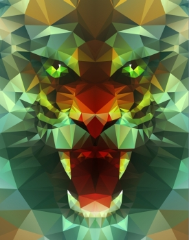 Abstract polygonal tiger Geometric hipster illustration Polygonal poster