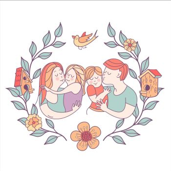 Family day Happy family Vector illustration Happy family Vector illustration for the international family day Happy parents and their children