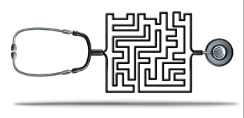 Solving healthcare and health care reform challenges as a doctor stethoscope shaped as a complicated maze as a medical and medicine insurance confusio
