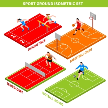 Sport Isometric Concept Isometric concept with jogging track and colorful courts and grounds for various sport games isolated on white background vec