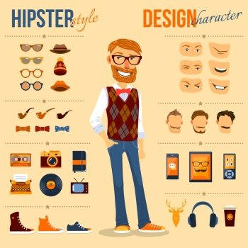 Male hipster character pack with geek fashion trendy elements isolated vector illustration