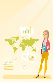 Business woman taking part in global business Businesswoman standing on the background of map Global business and business globalization concept Ve