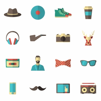 Hipster accessories icon flat set with hat vinyl record coffee cup isolated vector illustration Hipster Icon Flat Set