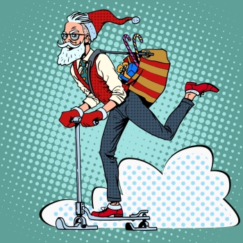 Hipster Santa Claus spreads the Christmas gifts on a scooter sled pop art retro style Hipster Santa Claus spreads the Christmas gifts on a scooter sl