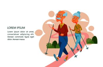 Older people lead an active lifestyle Old people play sports An elderly man and an elderly woman are engaged in Nordic walking Vector illustration