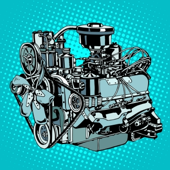 Retro engine motor pop art style Diesel mechanism metal for machine Retro engine motor