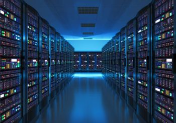 Modern web network and internet telecommunication technology big data storage and cloud computing computer service business concept server room inte