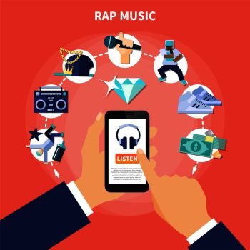 You searched for rap music listening on smartphone flat composition