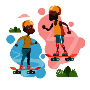 Older people lead an active lifestyle Elderly skateboarders An elderly man and a woman riding on skateboards Vector illustration