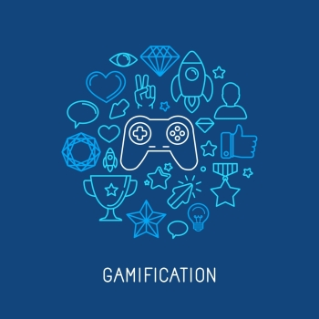 Vector gamification concepts  line icons and badges
