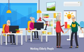 Aged Elderly People Orthogonal Concept Colored and flat aged elderly people orthogonal concept with working old people at office vector illustration