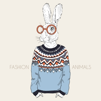 anthropomorphic design fashion illustration of hare dressed up in jacquard pullover