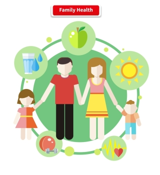 Icon flat style concept family health Care human child and parent mother and father boy and girl healthy logo sport and water food and apple il