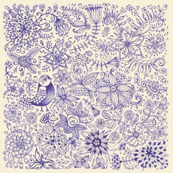 Hand drawn flowers and birds Card drawn by pen on paper Vector illustration