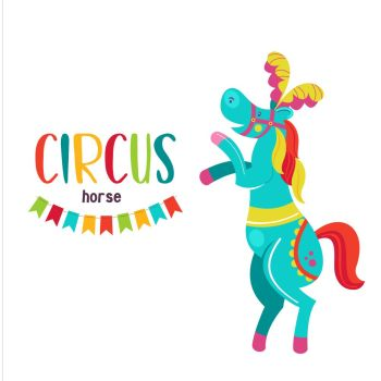 Circus artist Circus animals A trained circus horse stands on its hind legs Decorated with feathers Vector illustration Isolated on a white backg