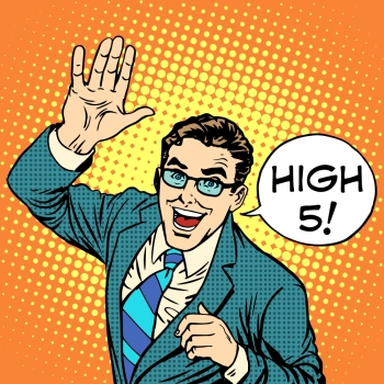 High five joyful businessman pop art retro style Greeting and friendship Positive service business concept Communication High five joyful business