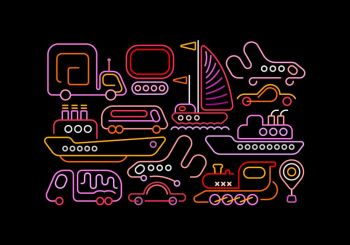 Neon colors on a black background Different Modes of Transportation vector design