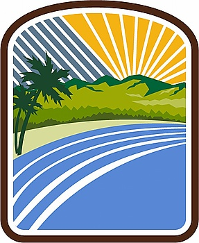 Illustration of tropical trees mountains and sea coast set inside rectangle shape with sunburst in the background done in retro style