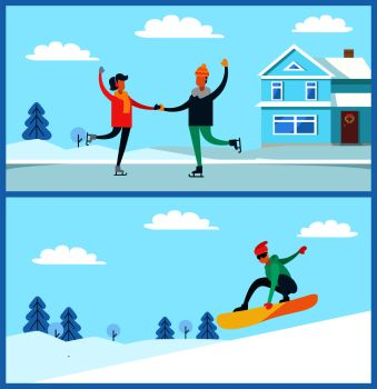 2a9572c2b742 People figure skating and snowboarding man with glasses and couple dancing  on ice beside house winter