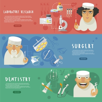 Three horizontal medical care banners with laboratory research surgery and dentistry infographic elements flat abstract vector illustration Medical h