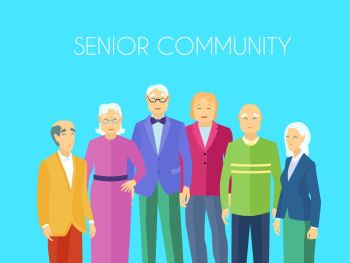 Senior Community People Group Flat Poster Senior community center older people meeting place to enjoy social activities together flat blue backgroun