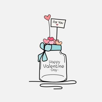 Valentine Day Card With Mason Jars And Heart Hand Drawn Vector Illustration