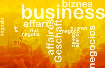 Background concept wordcloud illustration of business international. Business background concept