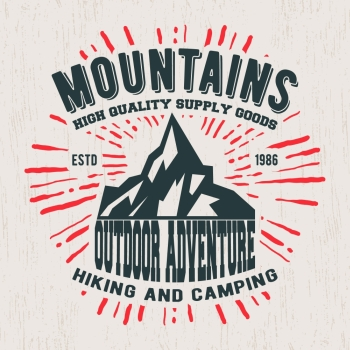 ae49f6405 T shirt print design Mountains vintage stamp Printing and badge applique  label t shirts jeans casual