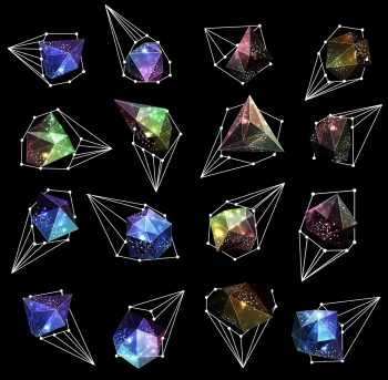 Abstract polygonal label design Elements of astronomy and constellation Cosmic style low poly illustration Abstract polygonal label design Elem