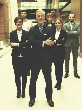 senior businessman with his team at office business people group