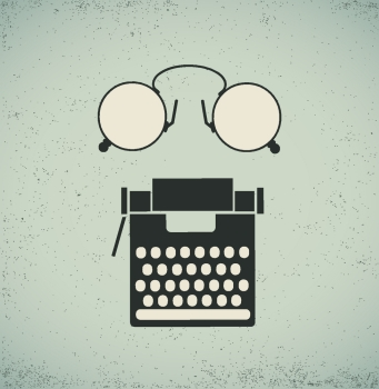 Retro vintage collage of a typewriter and eyeglasses