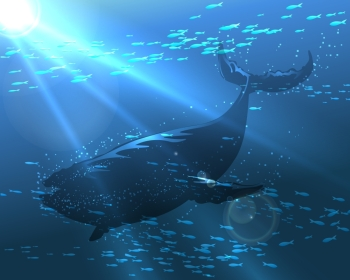 The great whale floating in the ocean deep Illustration in realistic style