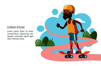 Older people lead an active lifestyle Old people play sports Grandpa is skateboarding Vector illustration