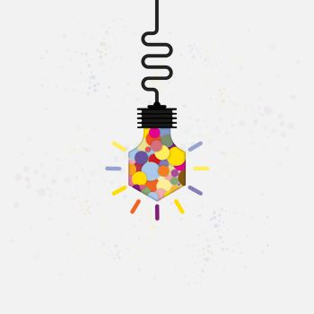 Creative bulb light idea abstract vector design templateConcept of ideas inspiration innovation invention effective thinking knowledge and education