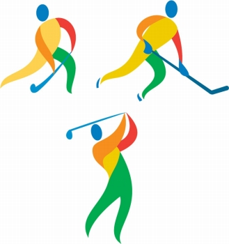 Icon illustration showing athlete playing the sport of field hockey ice hockey and golf