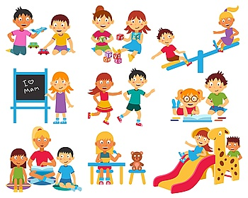 Kindergarten icons set Kindergarten flat icons set with children playing with toys and each other isolated vector illustration