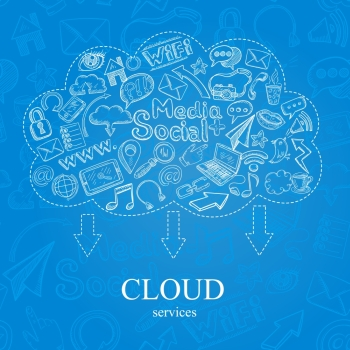 Social media cloud services concept with doodle icons set vector illustration