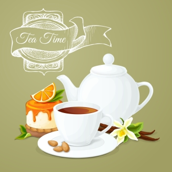 Tea party poster with cup pot orange dessert and badge vector illustration