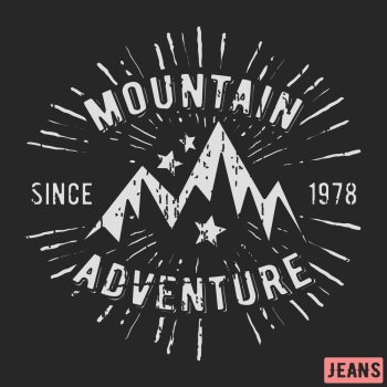 f161b0c33 T shirt print design Mountain adventure vintage stamp Printing and badge  applique label t shirts jeans
