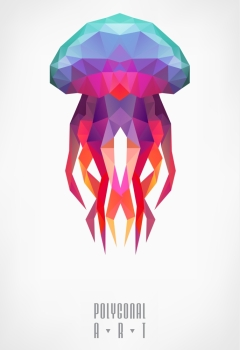 Abstract polygonal jellyfish low poly illustration Polygonal poster Ladybird polygonal