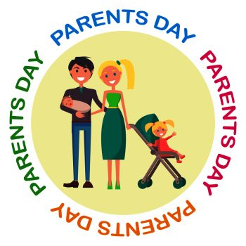 Banner devoted to parent s day with Inscription Vector illustration of family including father mother newborn and little daughter Banner Dev