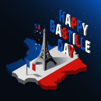 Bastille Day Independence Day of France symbols French flag and map icons set in 3d style Eiffel Tower icon Bastille Day Independence Day of Fr