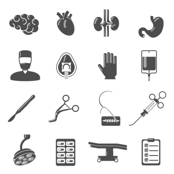 Surgery icons black set with brain blood stomach scalpel isolated vector illustration